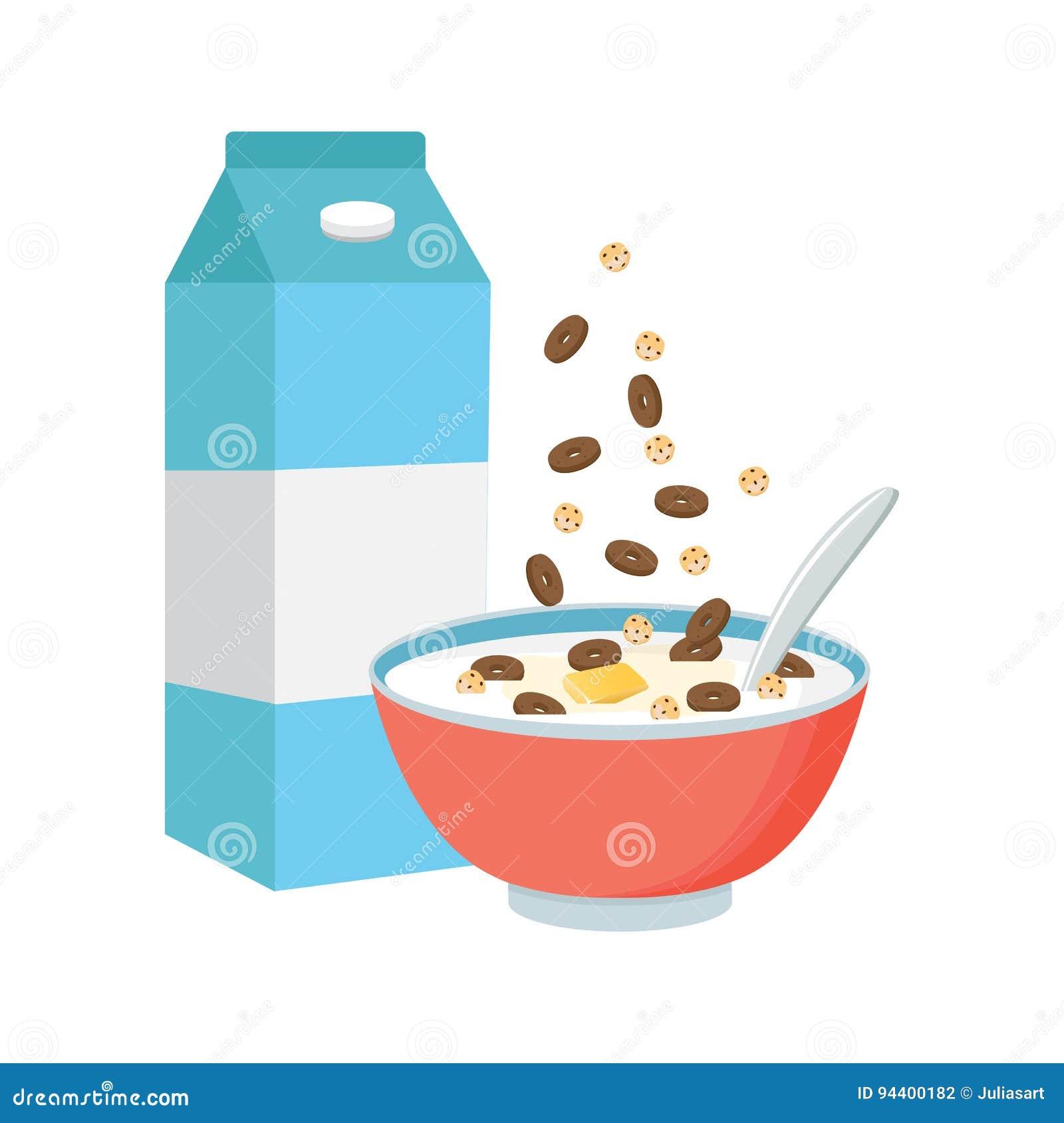 谷物碗用牛奶,在白色背景隔绝的圆滑的人 Co
