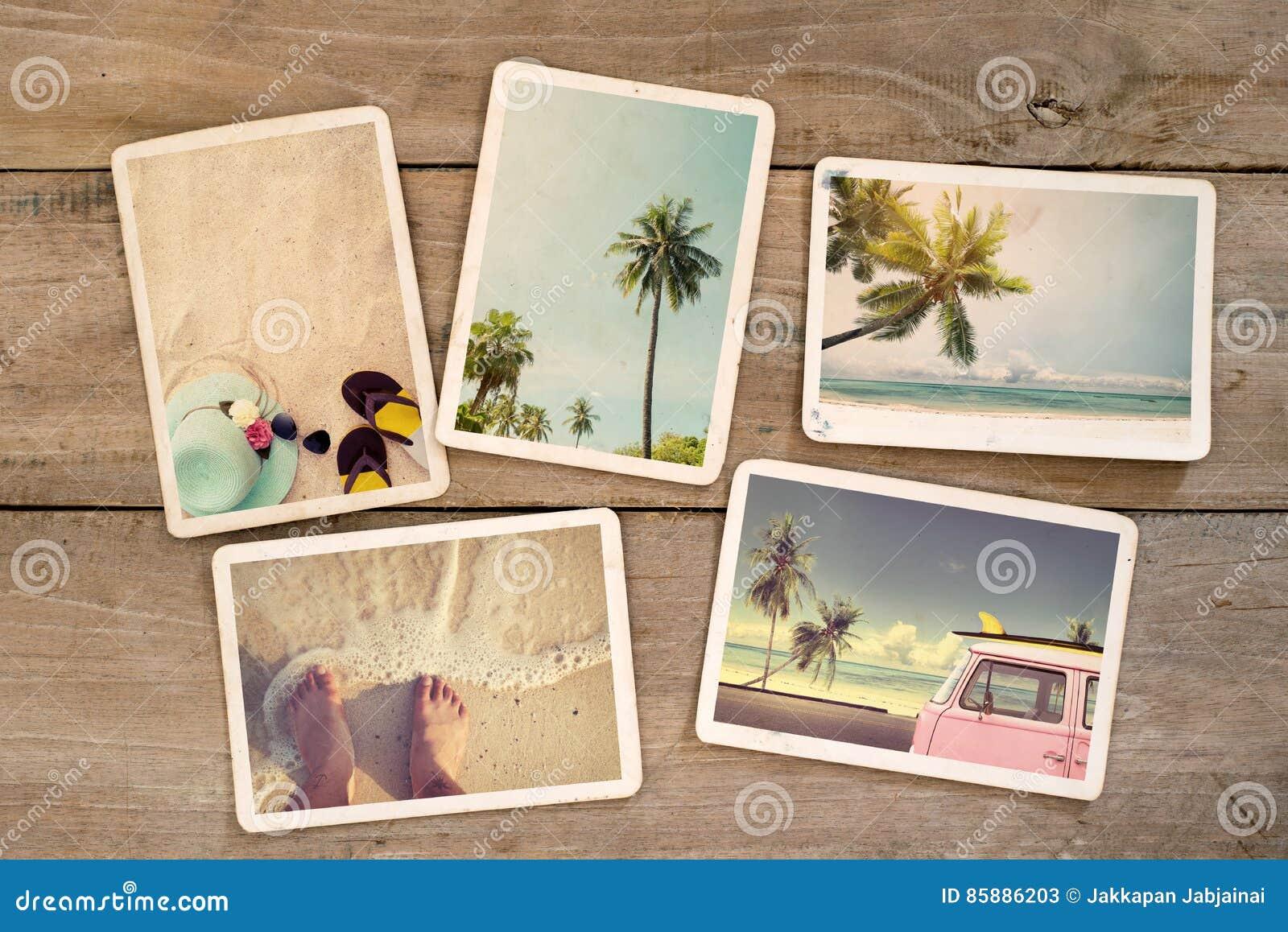 象册记忆和乡情在木桌上的夏天冲浪的海滩旅行远航