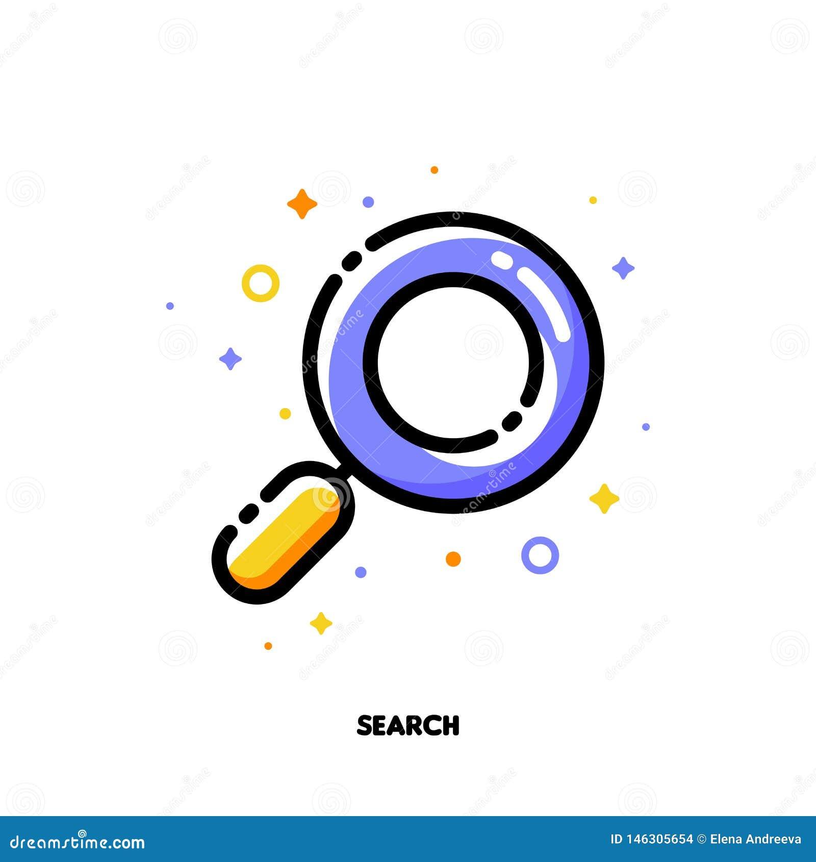 象征搜寻优化过程的成功互联网SEO概念放大镜的象  平的被填装的概述