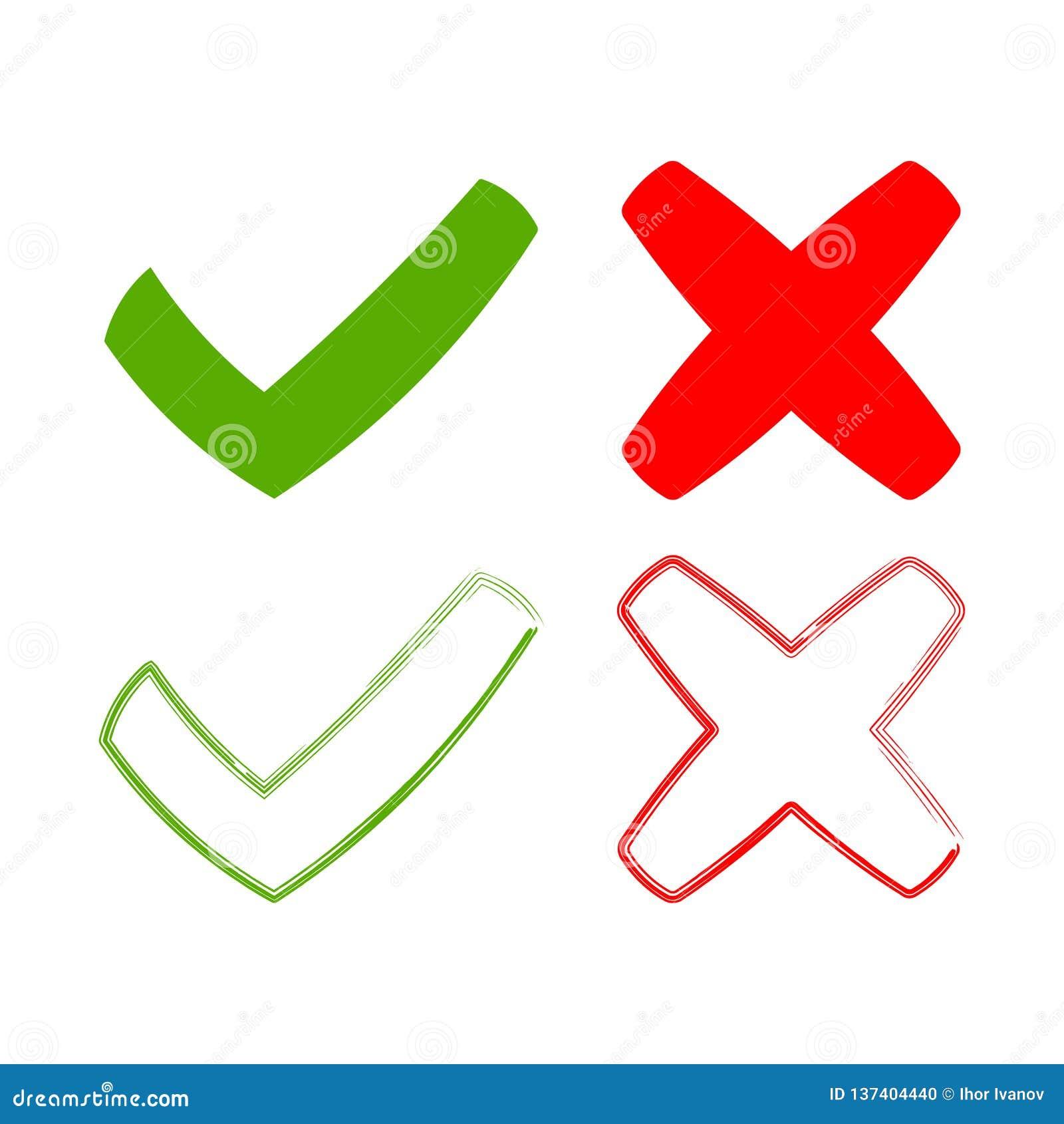 象滴答作响并且横渡,标志绿色检查号ok和红色x象