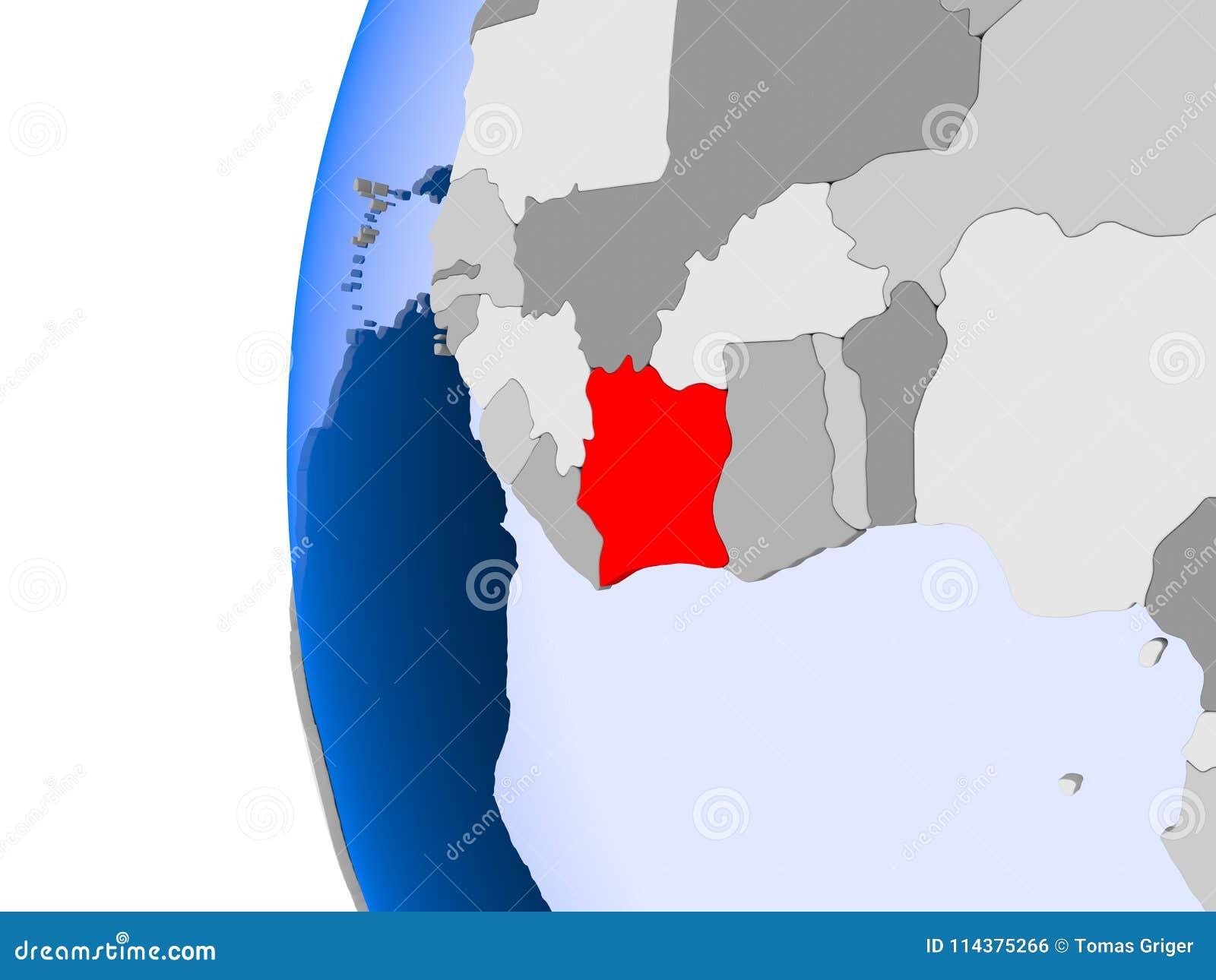 象牙海岸地图在政治地球的
