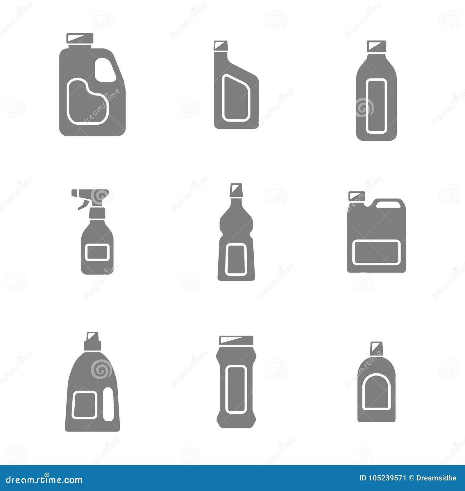 象设置了与有清洗的化学制品瓶