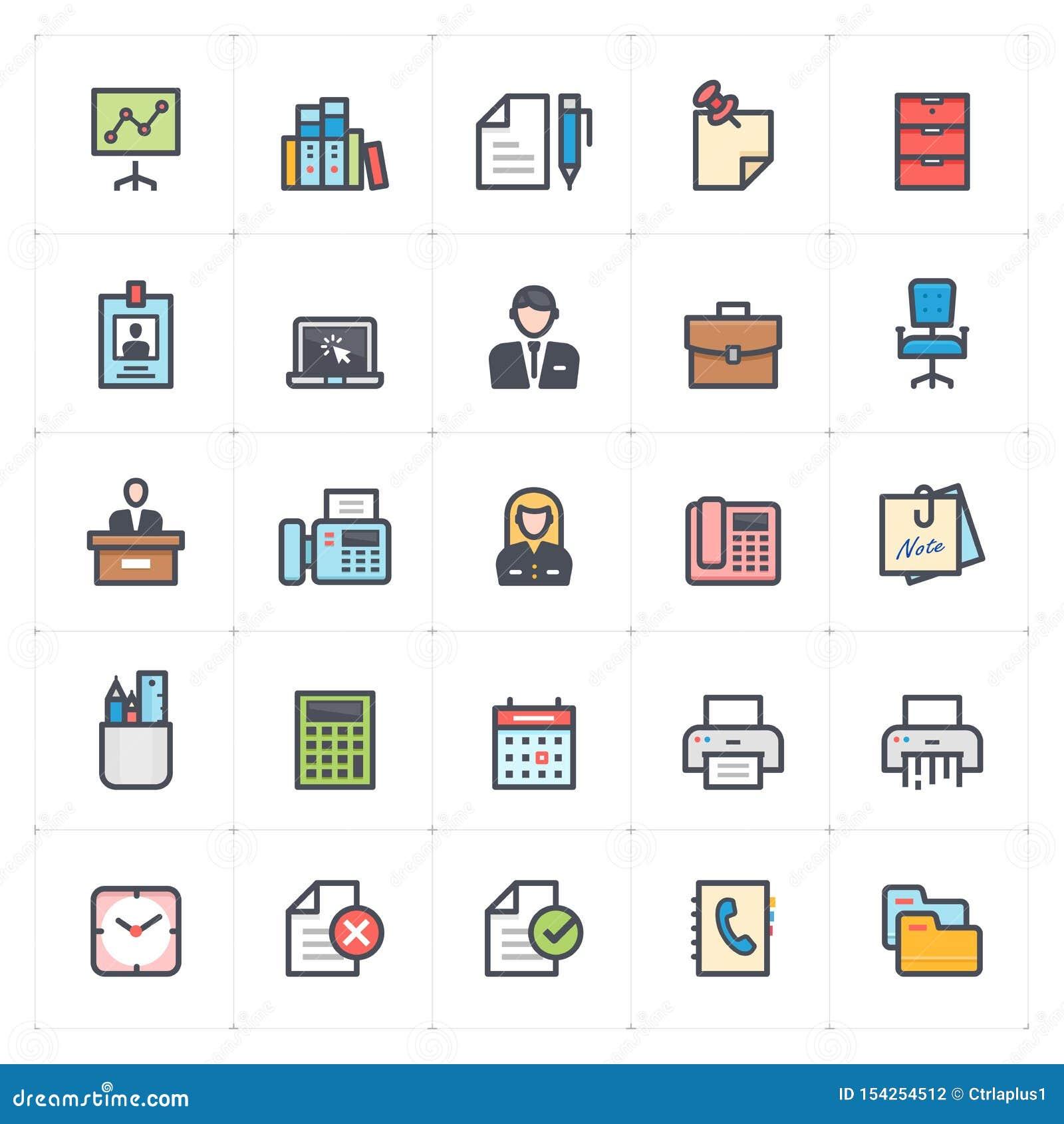 象集合-办公室和固定式完整色彩的概述冲程