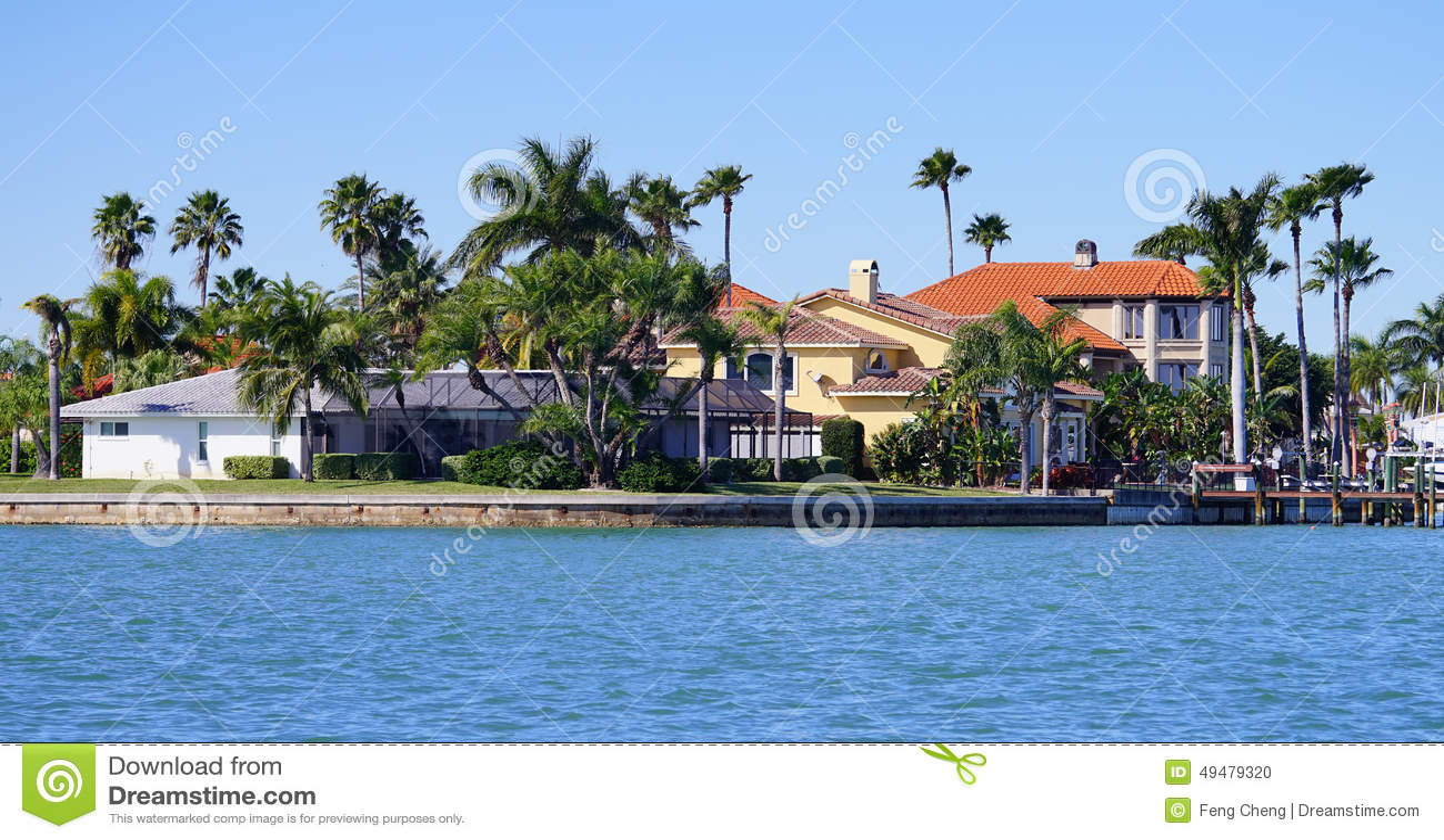 a船坞海滨船坞全景有别墅小船的在城阳湾,佛罗里达.坦帕售在联排别墅图片