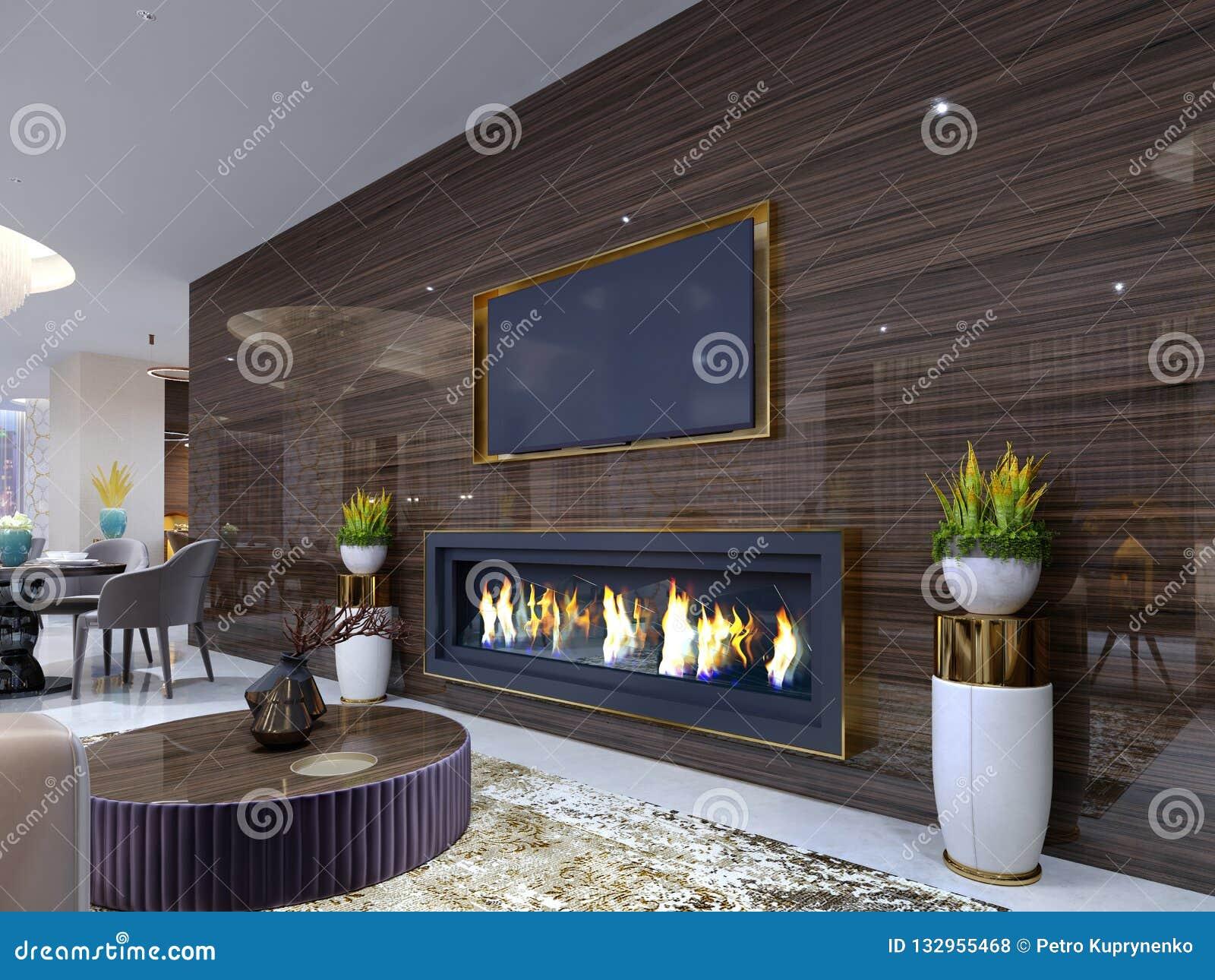 豪华现代壁炉在旅馆里,在一个舒适等候室、木墙壁有固定电视的和壁炉 立场为