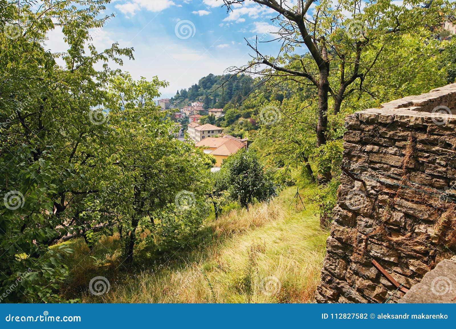 贝加莫,意大利- 2017年8月18日:市的全景从城堡墙壁的贝加莫