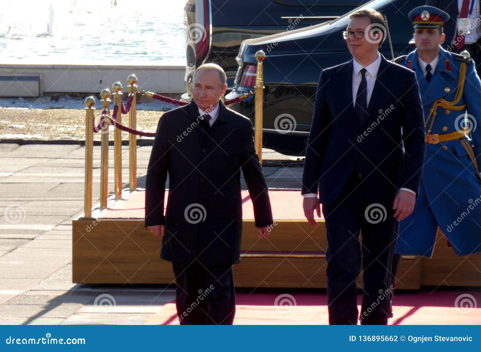 贝尔格莱德塞尔维亚 2019年1月17日 俄罗斯联邦的弗拉基米尔・普京总统,正式访问的向贝尔格莱德,塞尔维亚