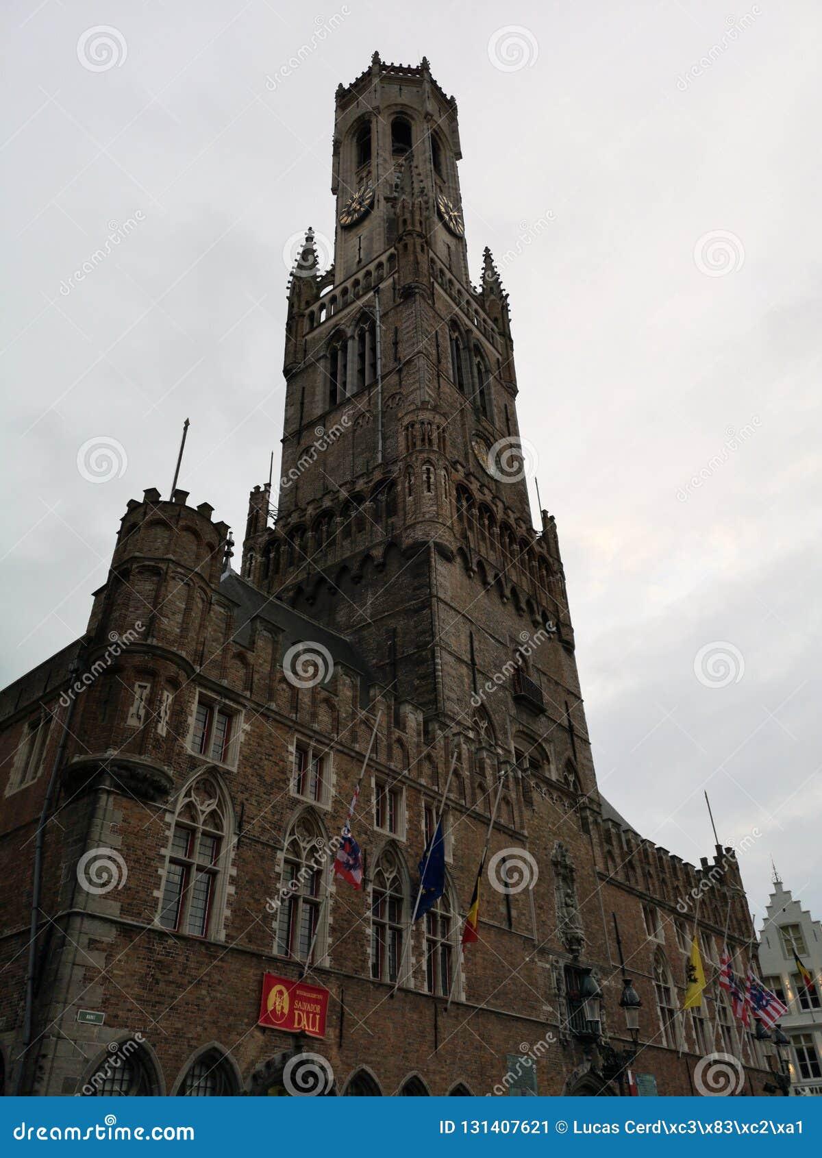 贝尔福钟楼塔在布鲁日,布鲁基,比利时