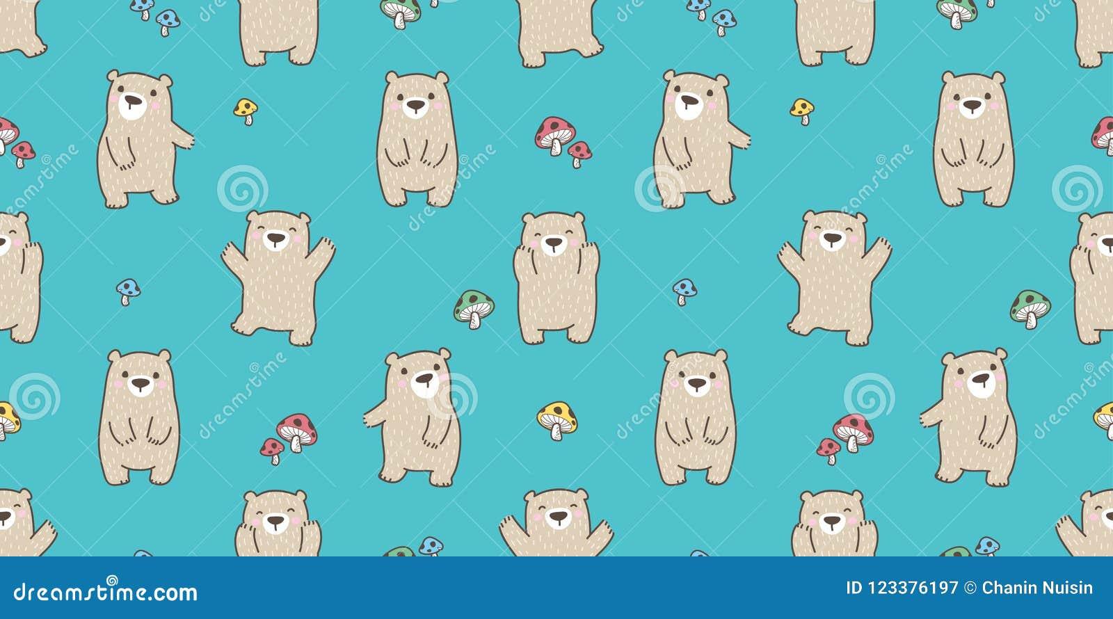 负担无缝的样式传染媒介北极熊女用连杉衬裤愉快的蘑菇森林被隔绝的背景墙纸