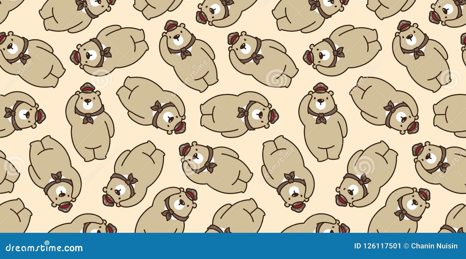 负担无缝的样式北极熊传染媒介被隔绝的熊猫女用连杉衬裤围巾帽子盖帽背景重复墙纸褐色
