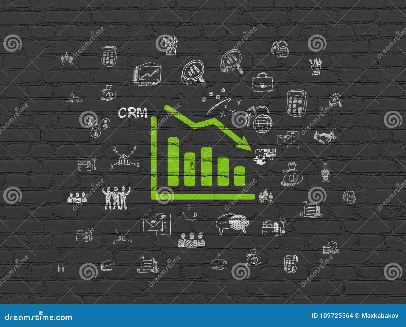 财务概念:在墙壁背景的衰落图表