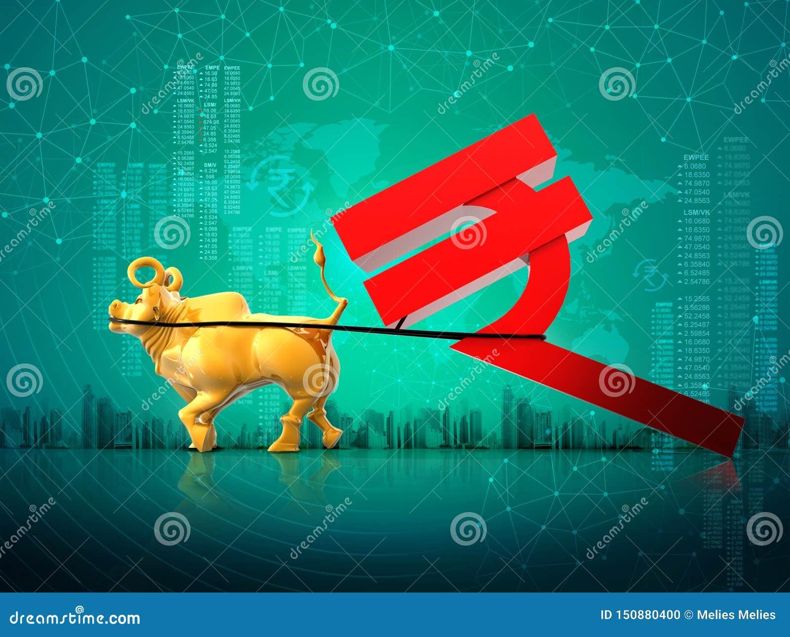 财政企业成长成功概念,扯拽印度卢比标志,3D翻译摘要背景的金黄公牛