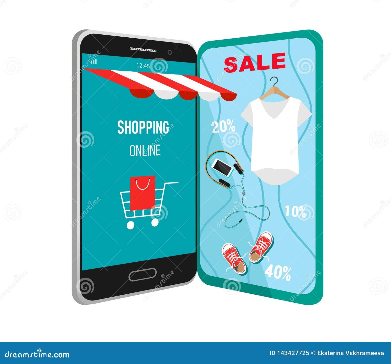 购物在网上在网站或流动应用上的传染媒介概念 企业和数字营销