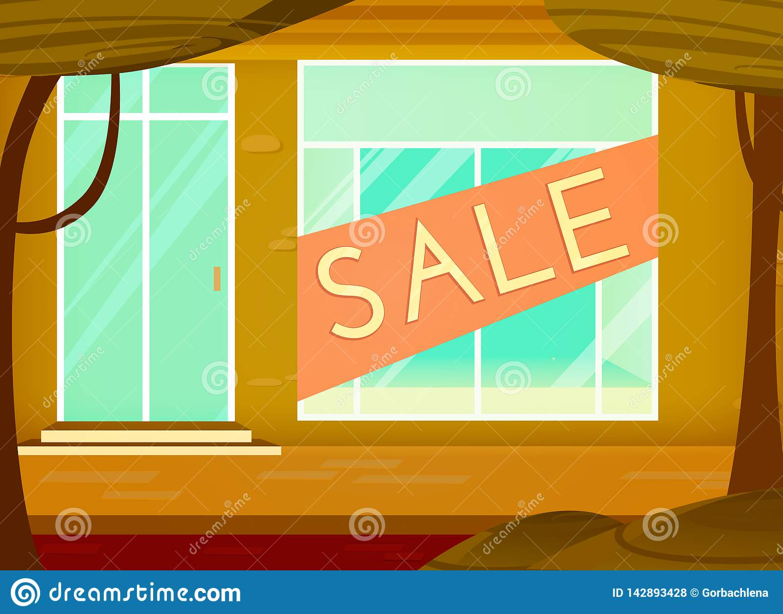 购物的销售背景 动画片样式 与销售标志的零售店窗口 r