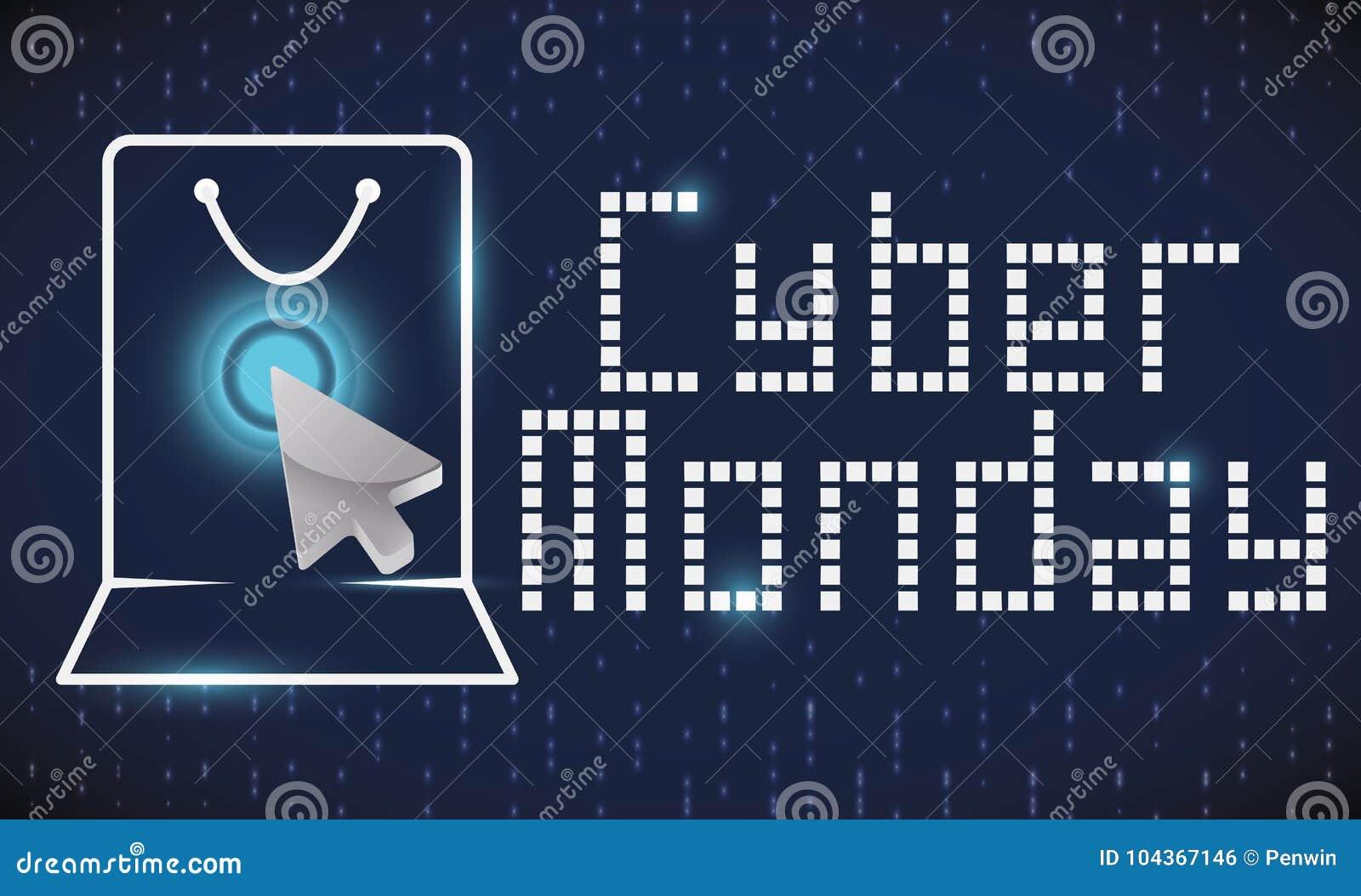 购物袋概述、尖和数字式屏幕网络的星期一,传染媒介例证