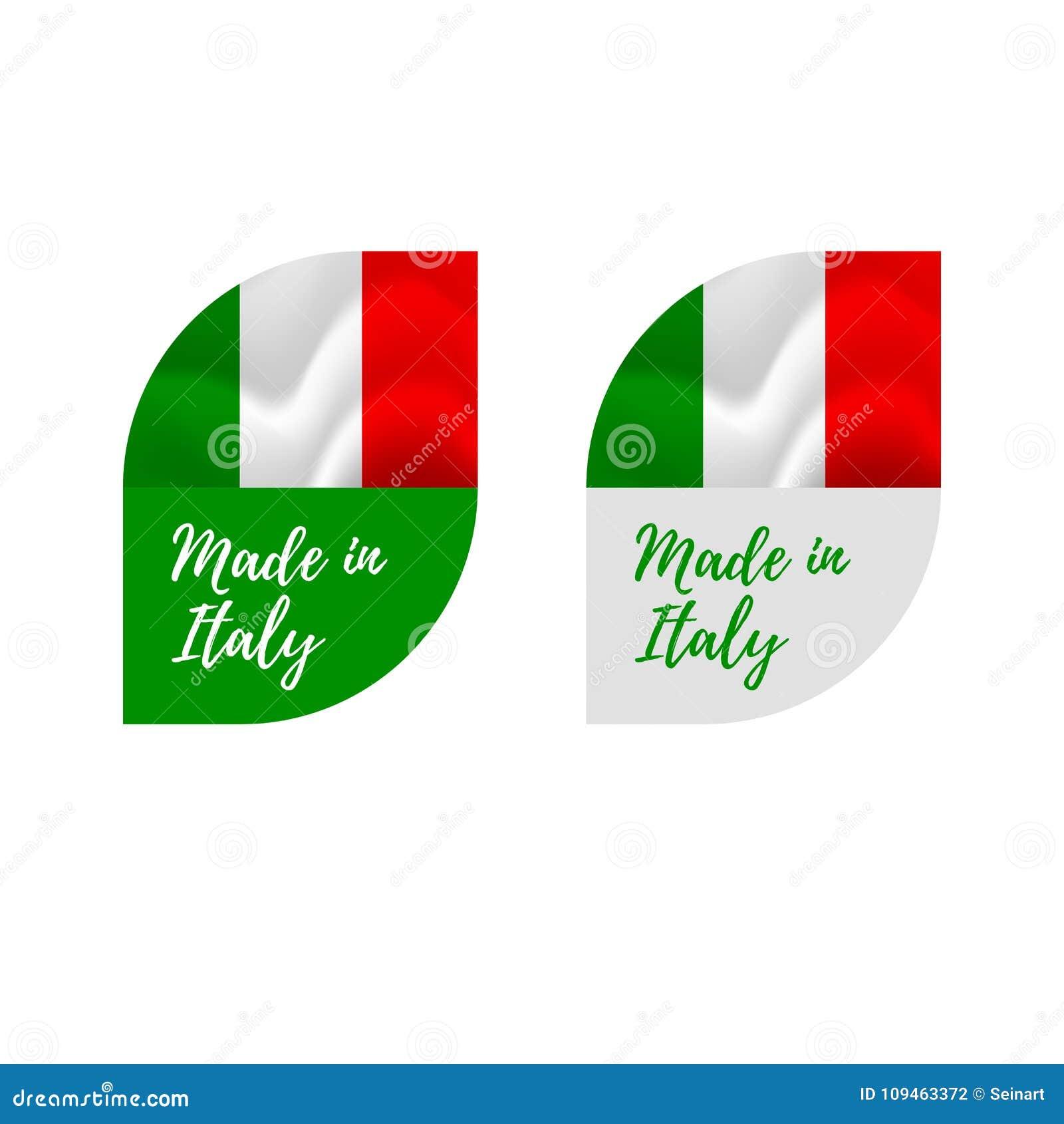 贴纸意大利制造 挥动的标志 背景查出的白色 也corel凹道例证向量