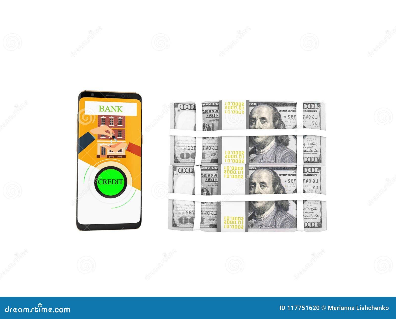 贷款的概念通过电话在银行中以在钥匙的美元