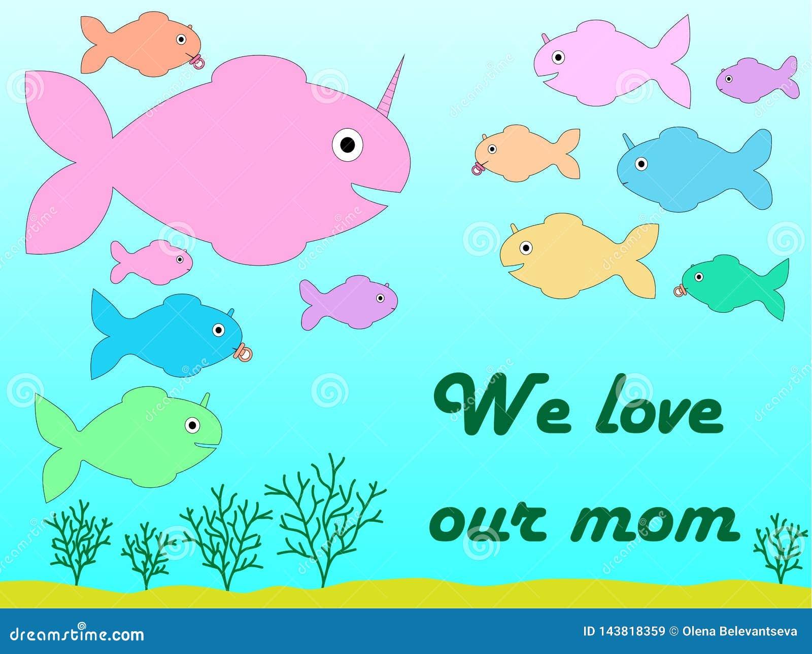 贺卡为以独角兽的一个手拉的鲨鱼的形式母亲节和他的小孩子和题字'我们爱