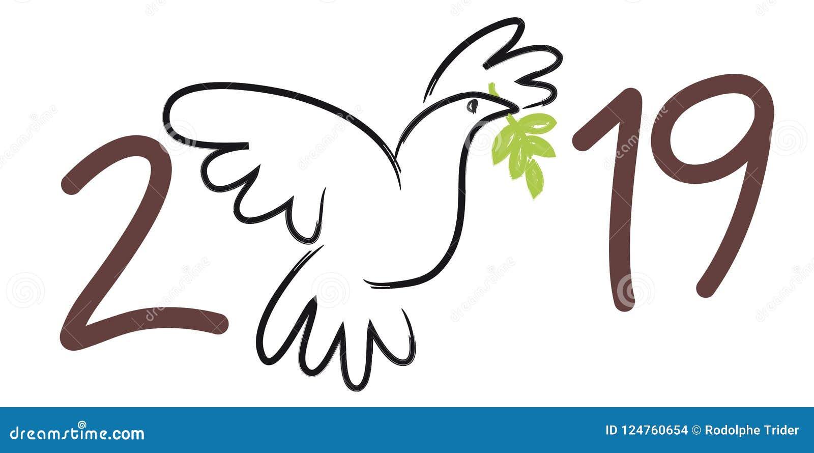 贺卡2019年象征的和平,与运载在它的额嘴的鸠的图画橄榄树枝