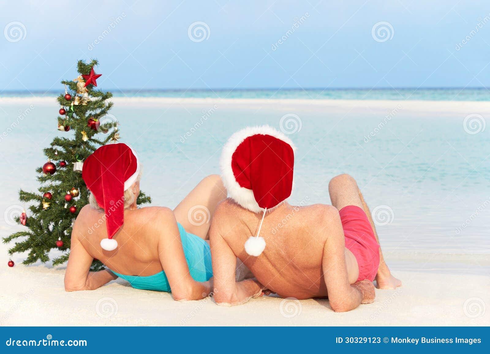资深夫妇坐与圣诞树和帽子的海滩