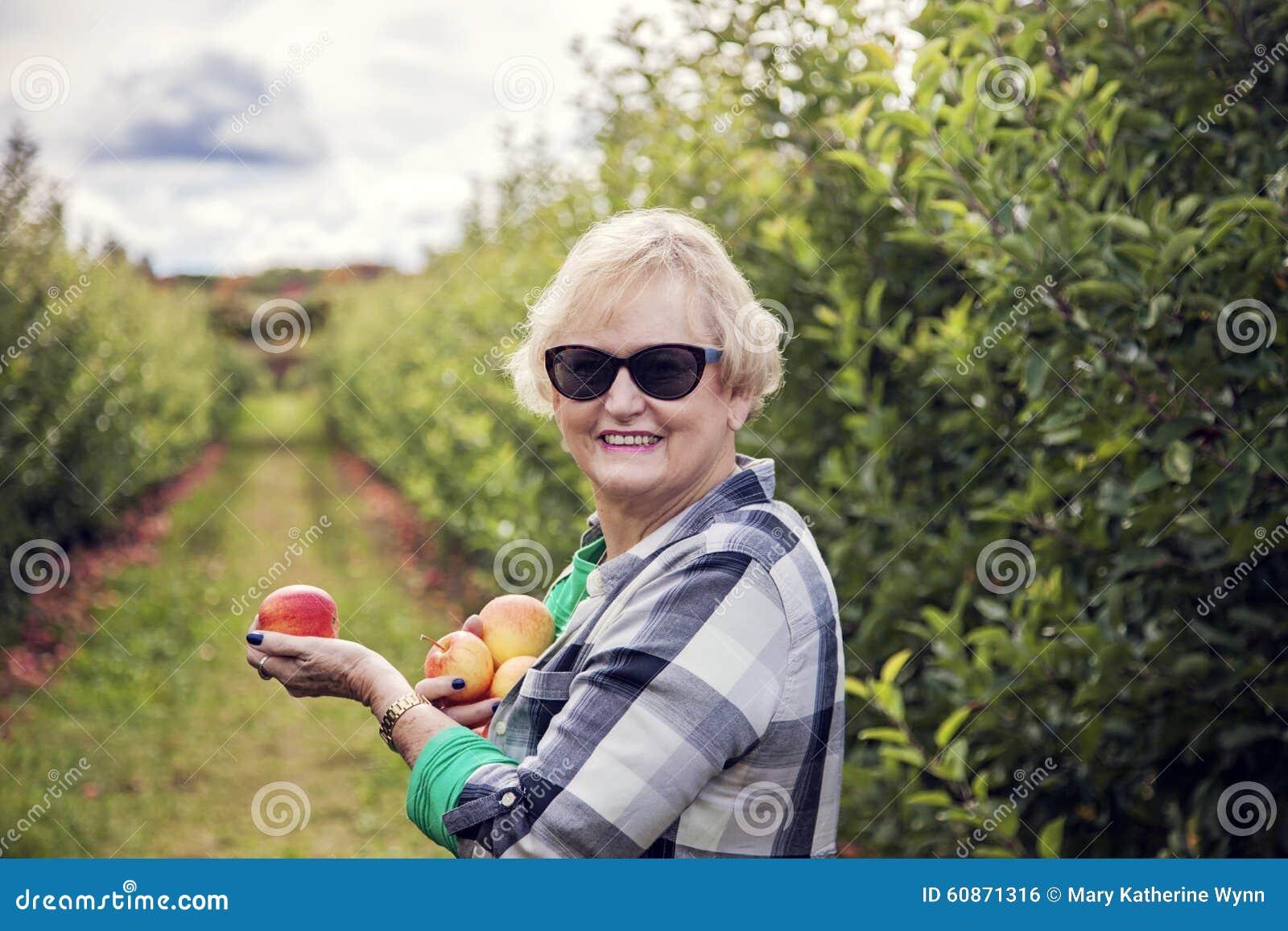 资深妇女采摘苹果