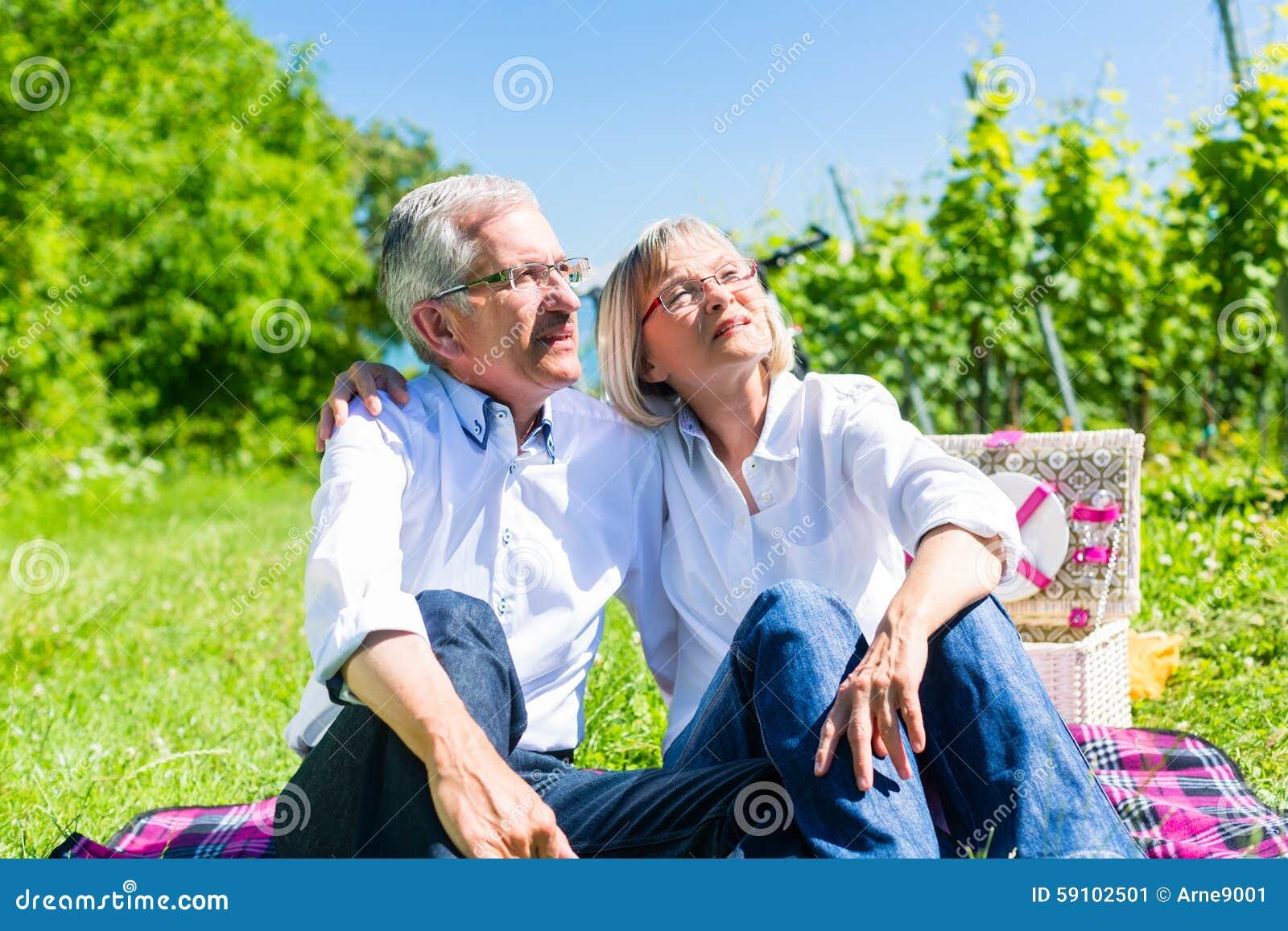 资深有妇女和的人在草甸的野餐