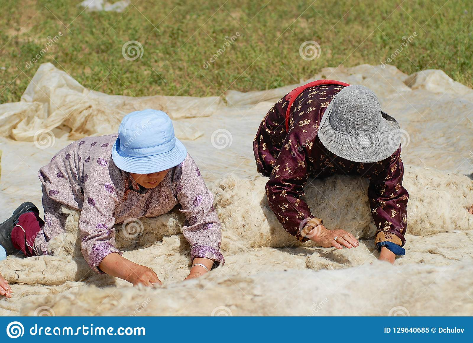 资深蒙古妇女在Harhorin,蒙古生产毛毡
