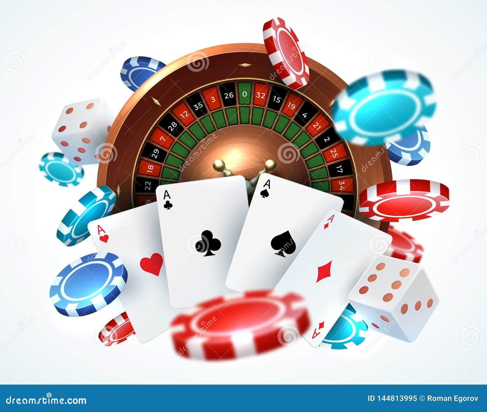 纸牌纸牌筹码 赌博与传染媒介幸运的轮盘赌的落的模子网上赌博娱乐场现实3D赌博概念