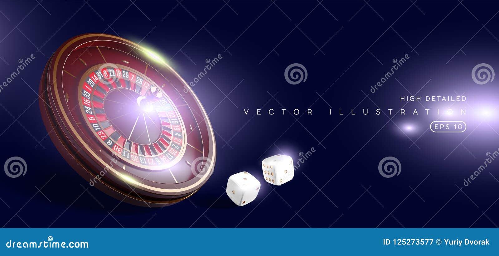赌博娱乐场在蓝色背景隔绝的轮盘赌的赌轮 3D现实传染媒介例证 网上啤牌赌博娱乐场轮盘赌