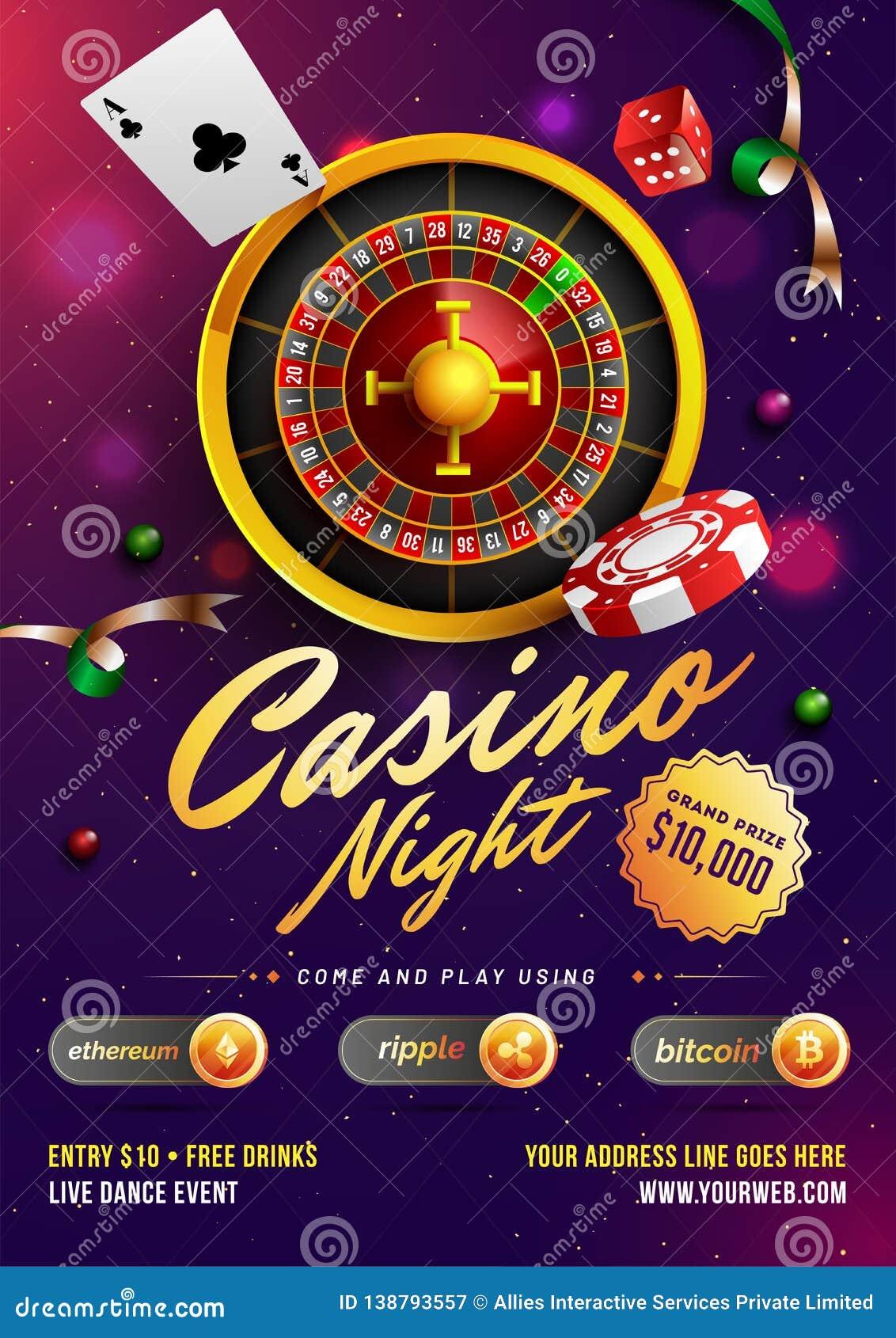 赌博娱乐场夜模板或飞行物设计与现实轮盘赌的赌轮和赌博娱乐场元素