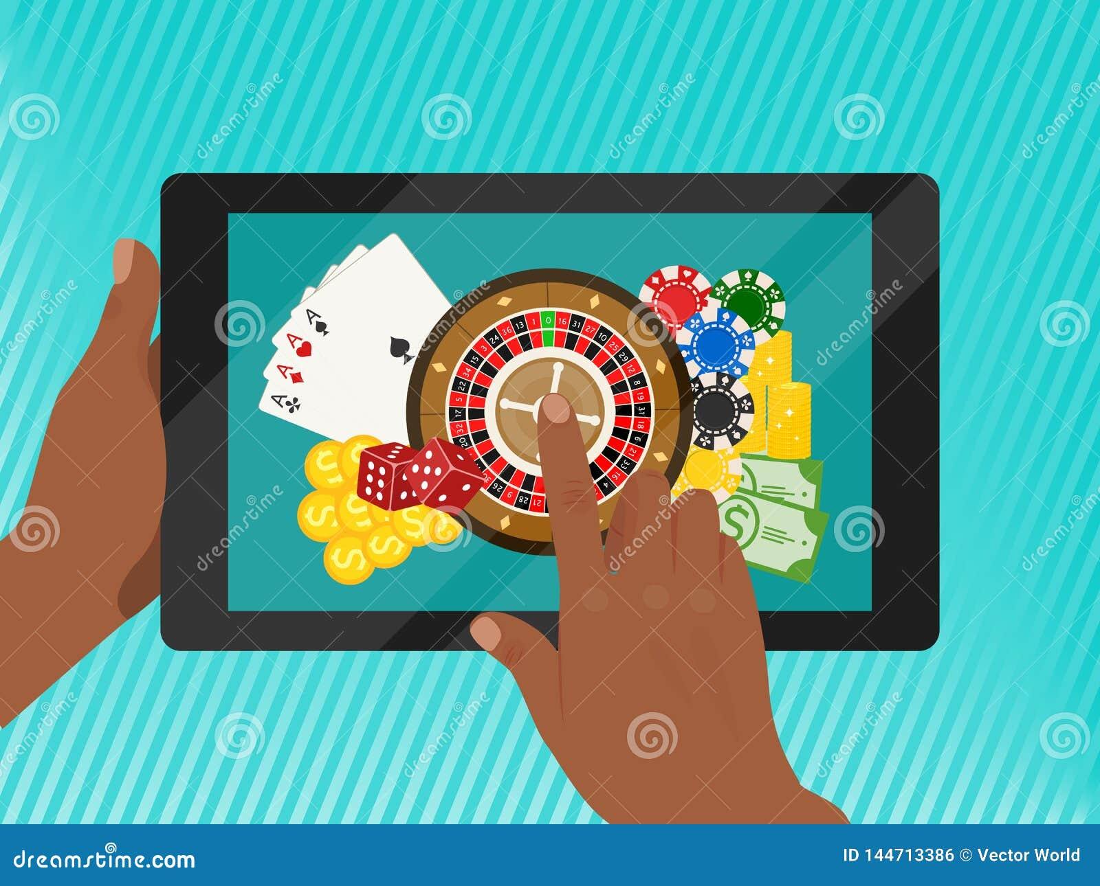 赌博娱乐场网上横幅传染媒介例证 包括轮盘赌,赌博娱乐场芯片,纸牌,赢得金钱 模子,现金