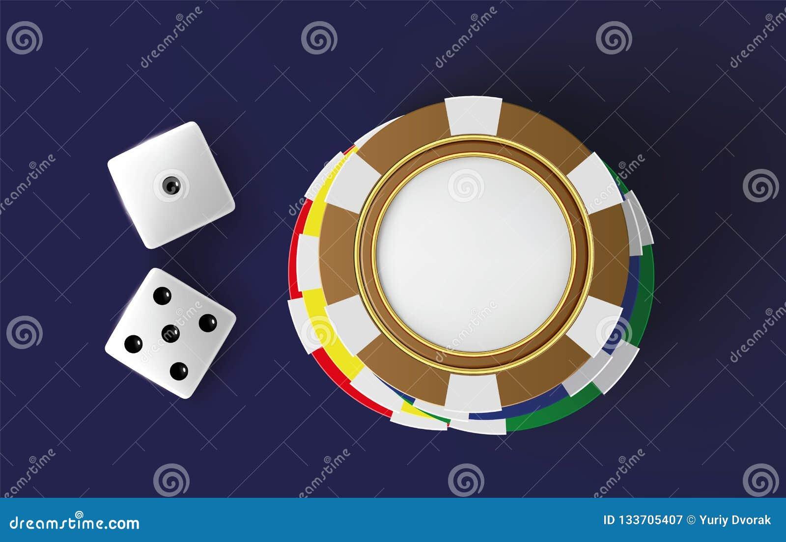 赌博娱乐场背景模子和芯片 模子和芯片顶视图在蓝色背景 与地方的网上赌博娱乐场桌概念