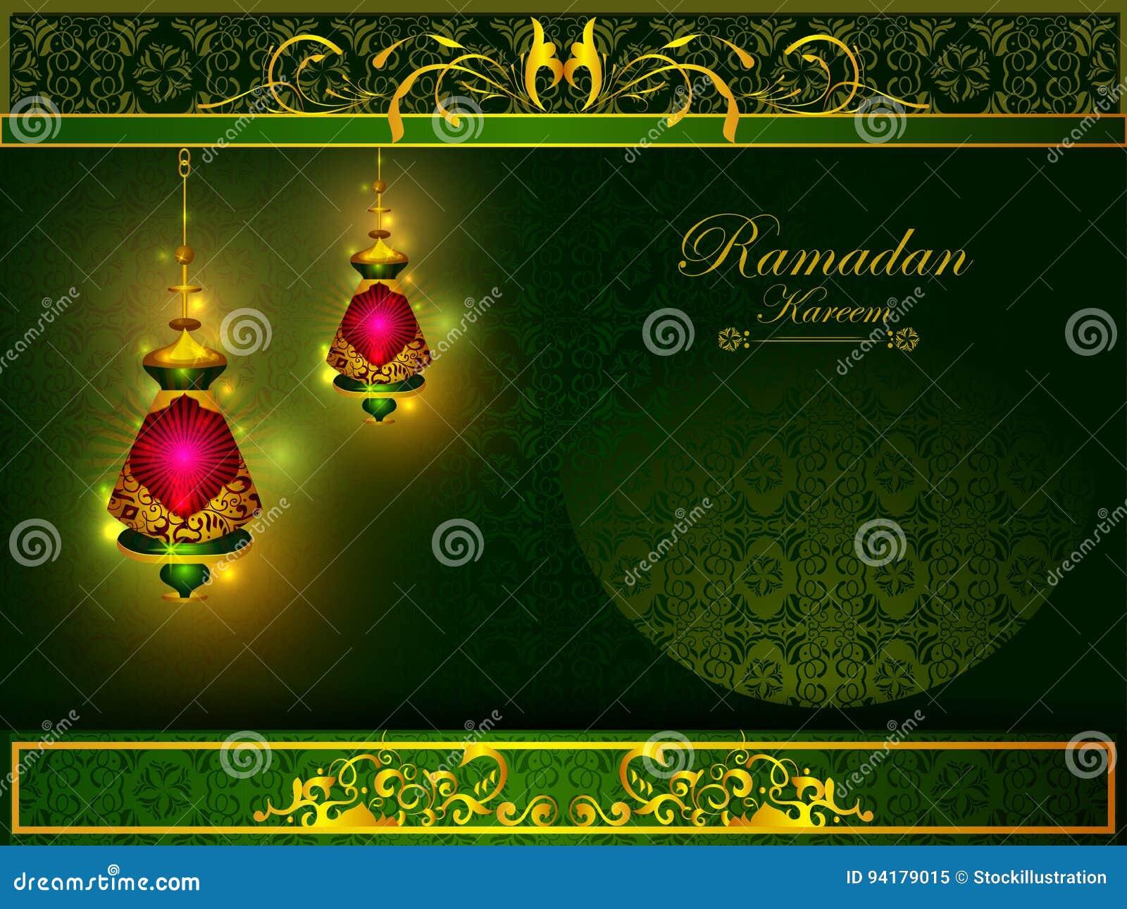 赖买丹月Kareem背景的装饰的伊斯兰教的阿拉伯花卉设计在愉快的Eid节日