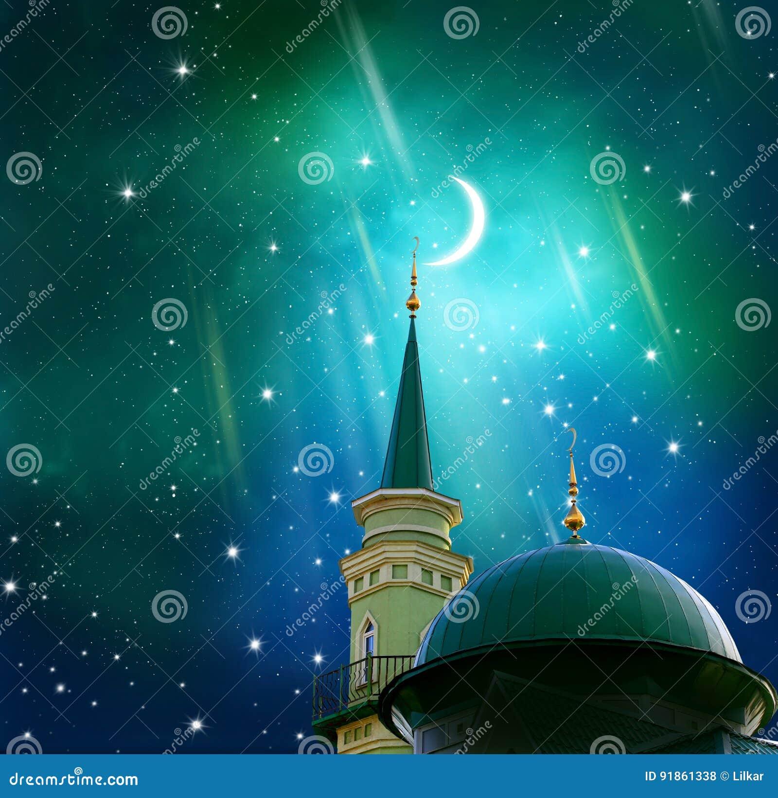 赖买丹月Kareem背景 在清真寺的上面的新月形月亮 isl