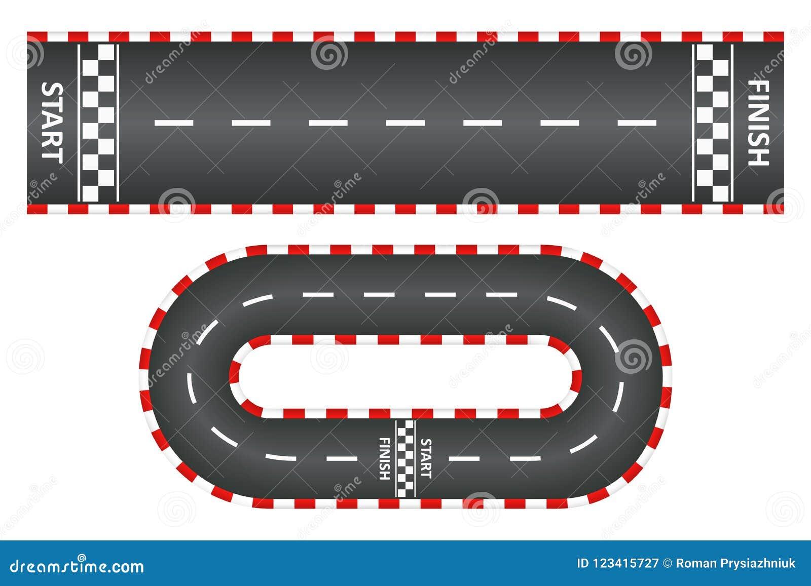 赛马跑道,柏油路顶视图设置了,与开始的kart种族和终点线 向量