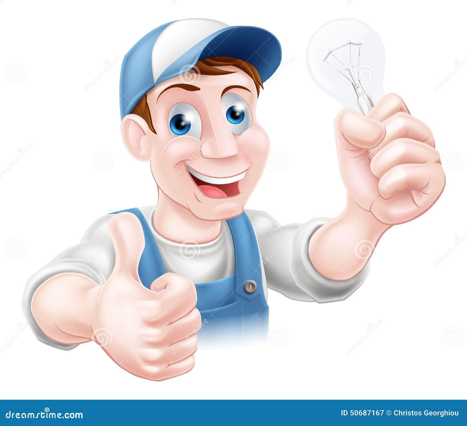 Download 赞许电工电灯泡 向量例证. 插画 包括有 照明, 吉祥人, 微笑, 行业, 滑稽, 职业, 插件, 字符 - 50687167