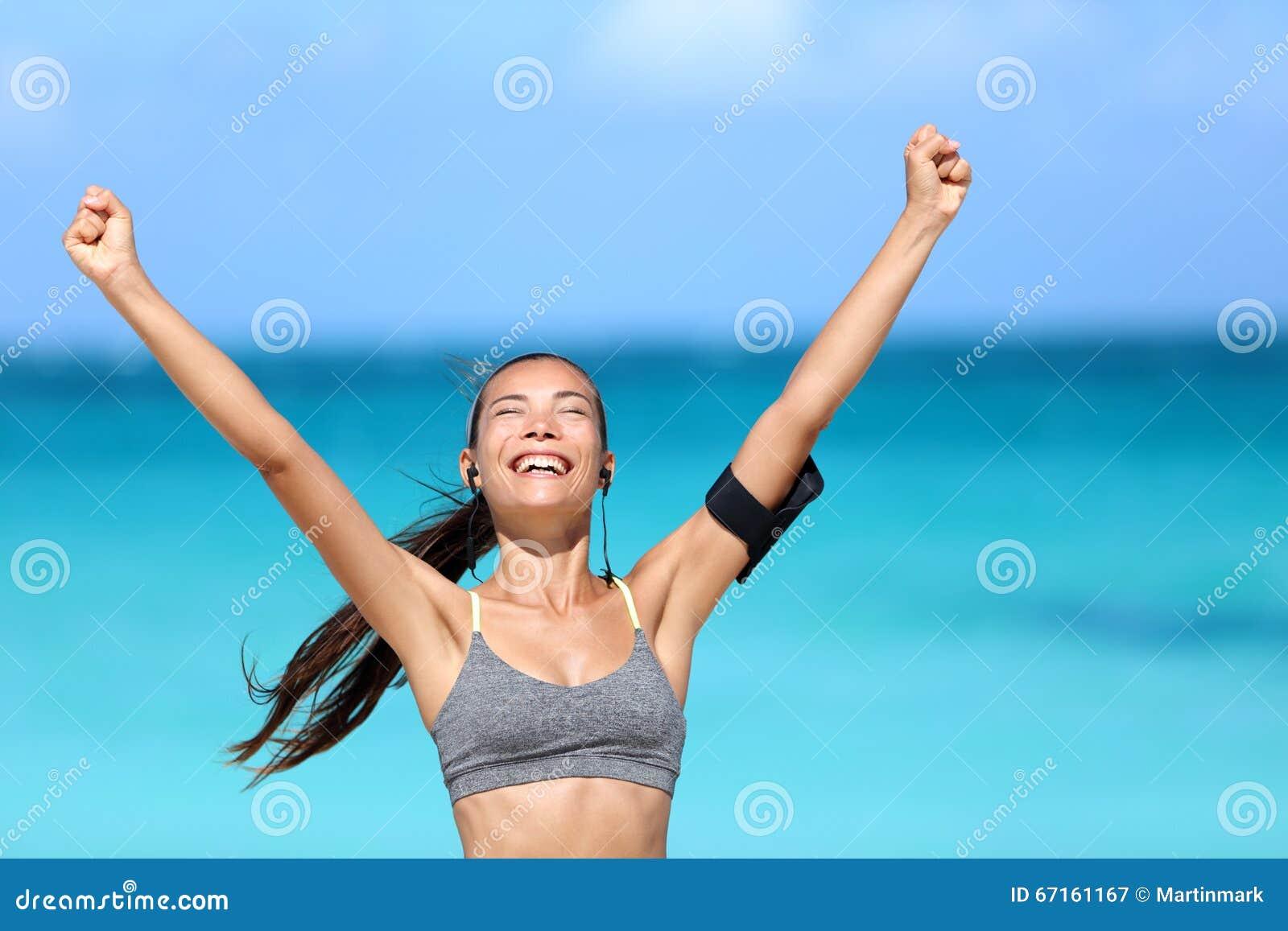 赢取愉快的连续的妇女-健身成功