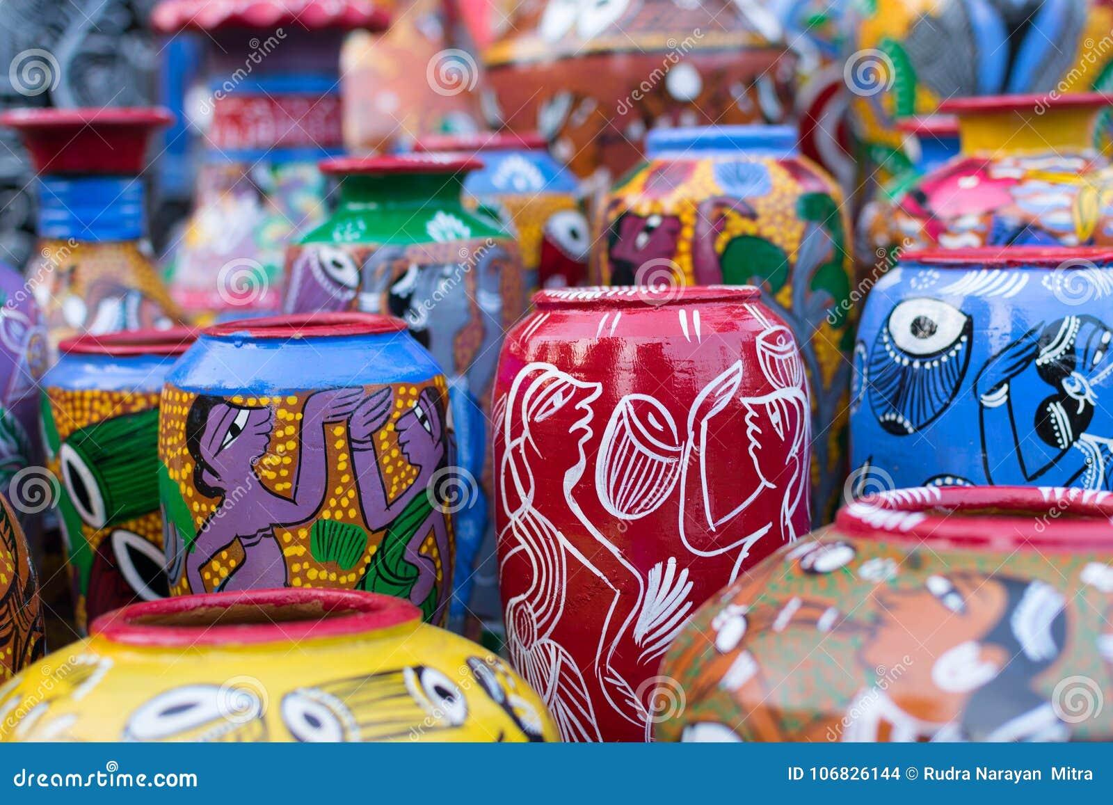 赤土陶器罐,印地安工艺品公平在加尔各答
