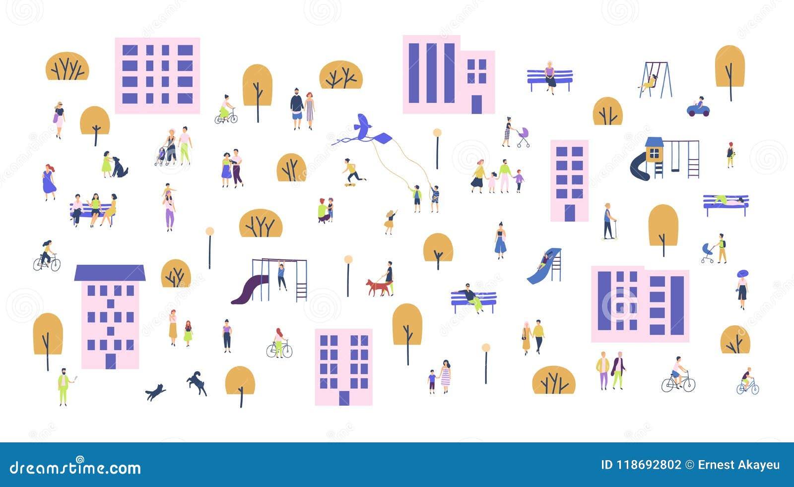 走与孩子或狗,乘坐的自行车的微小的人民人群,坐长凳在城市郊区 动画片人和