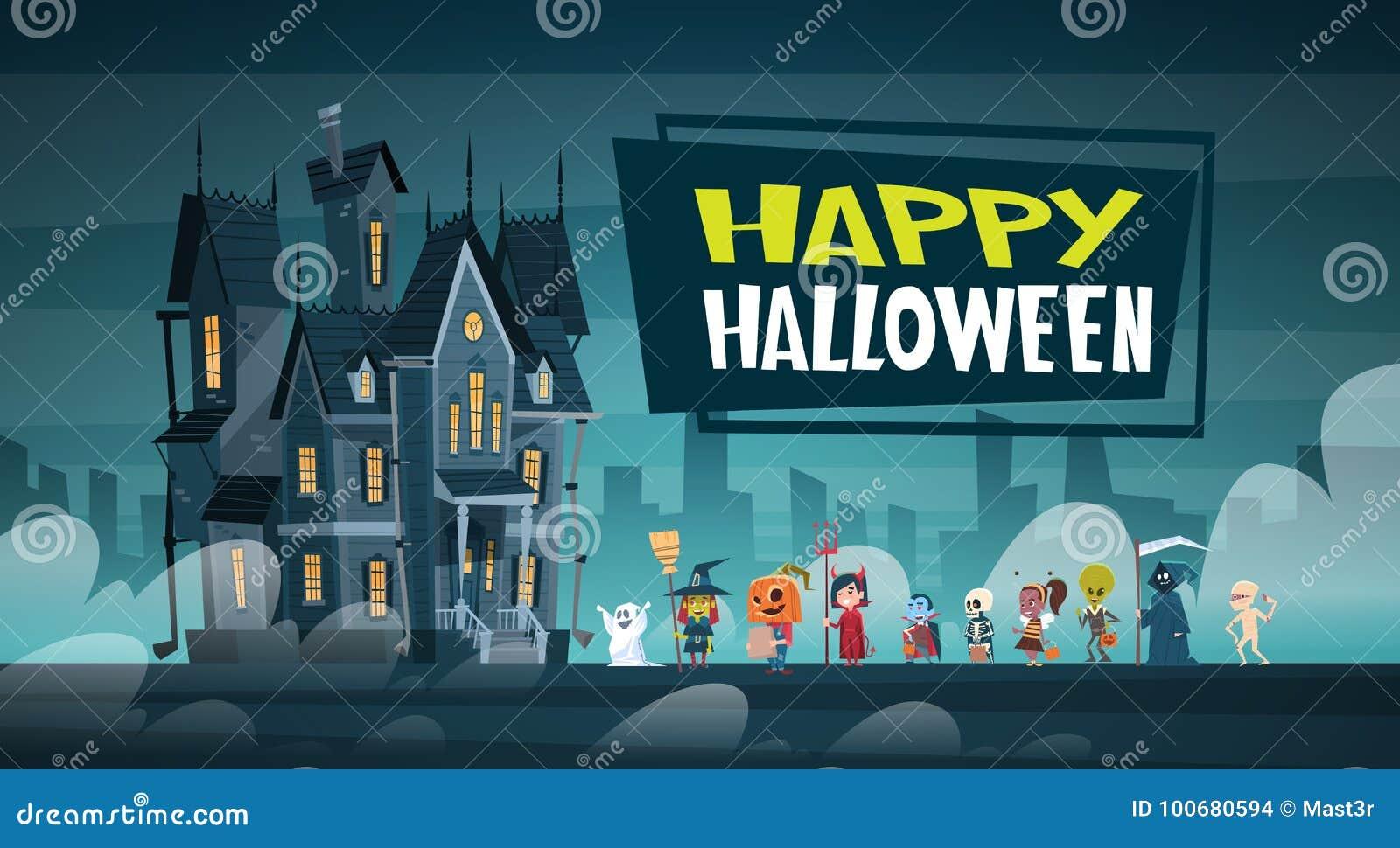 走到黑暗的城堡的愉快的万圣夜横幅假日装饰恐怖党贺卡逗人喜爱的动画片妖怪与