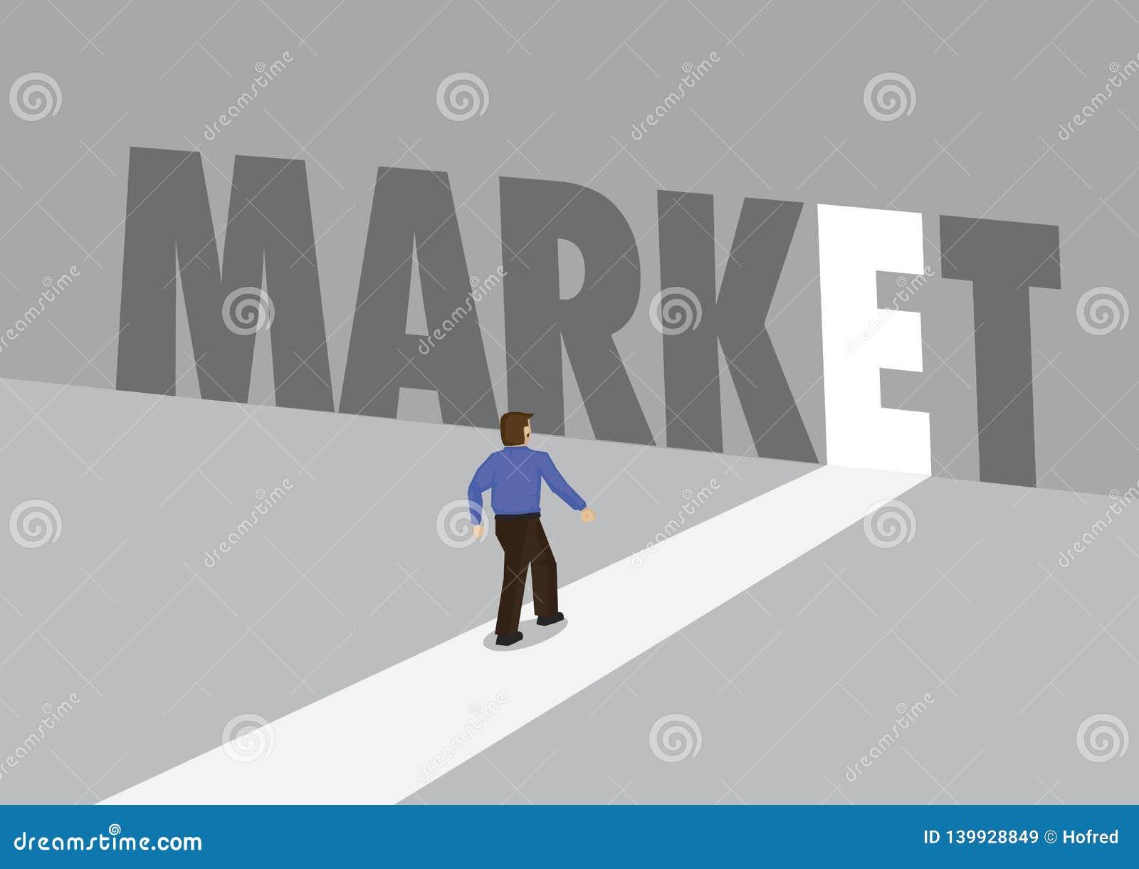 走向有文本市场的一条轻的道路的商人 行销、促进或者挑战的企业概念 向量