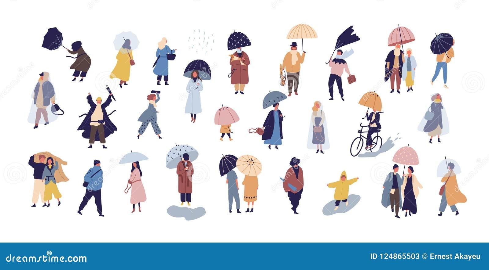 走在伞下的人的汇集在秋天雨天隔绝在蓝色背景 微小的男人和妇女人群