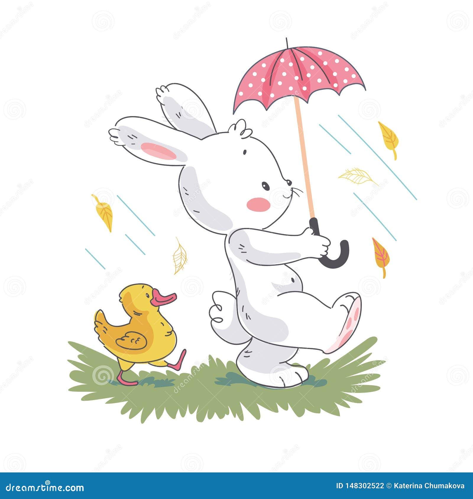 走在伞下的逗人喜爱的白色婴孩兔宝宝字符和小的鸭子的传染媒介平的例证 E