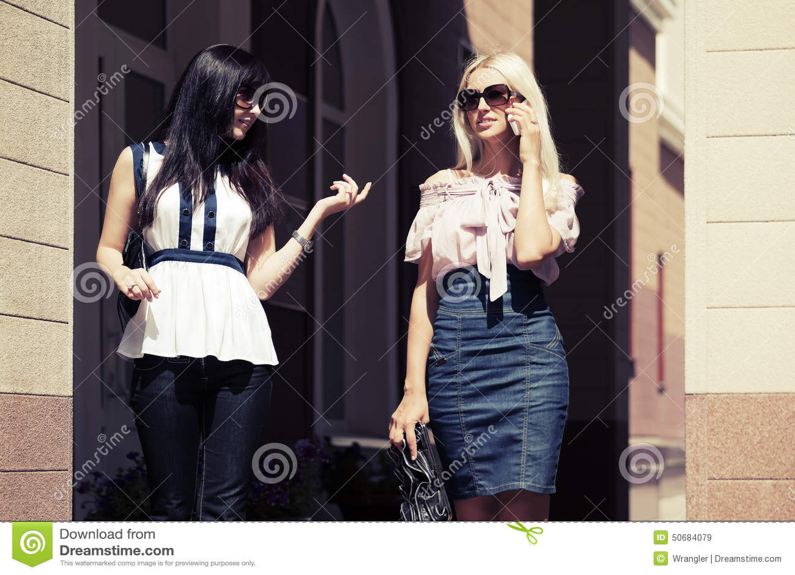 Download 走在城市街道上的两名年轻时尚妇女 库存图片. 图片 包括有 人力, 有吸引力的, 朋友, 时兴, 女实业家 - 50684079