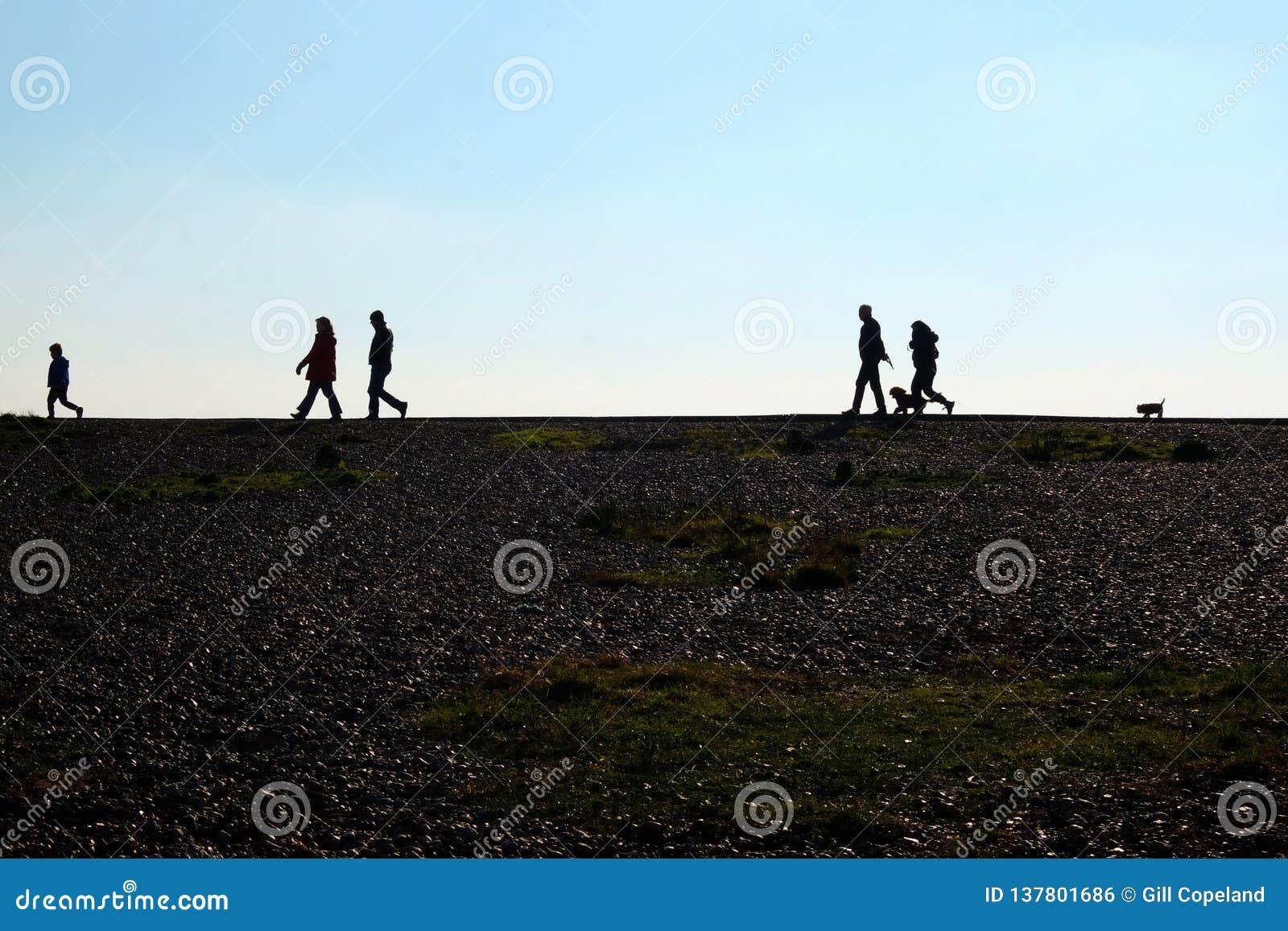 走在天际的Pebble海滩和无法认出的人