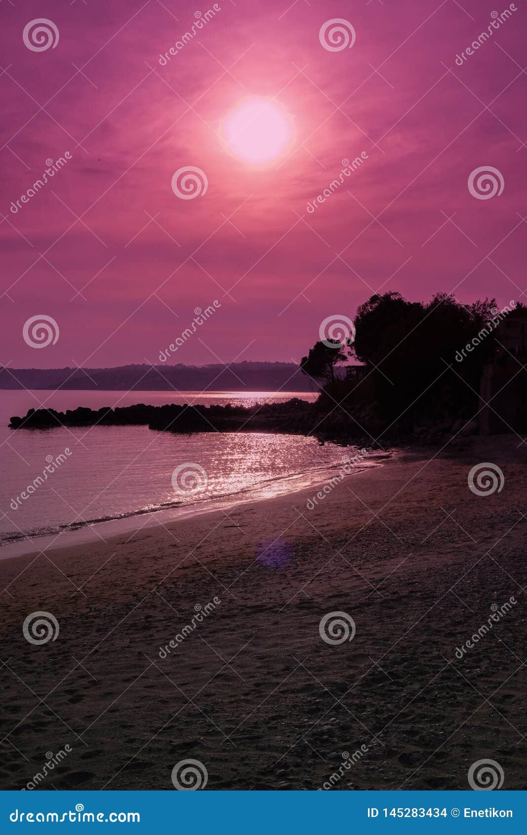 在多岩石的海滩的日落