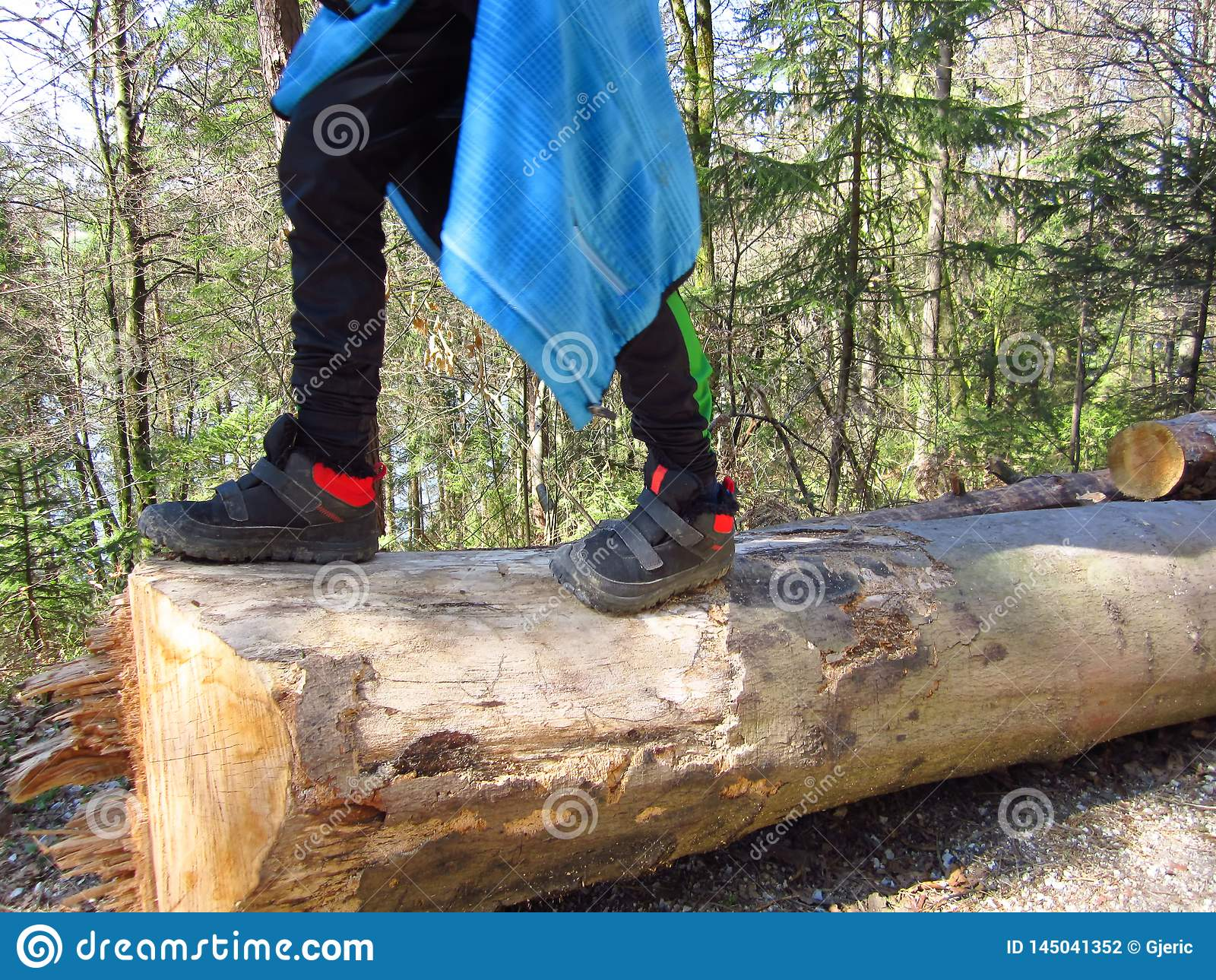 走在树干的孩子