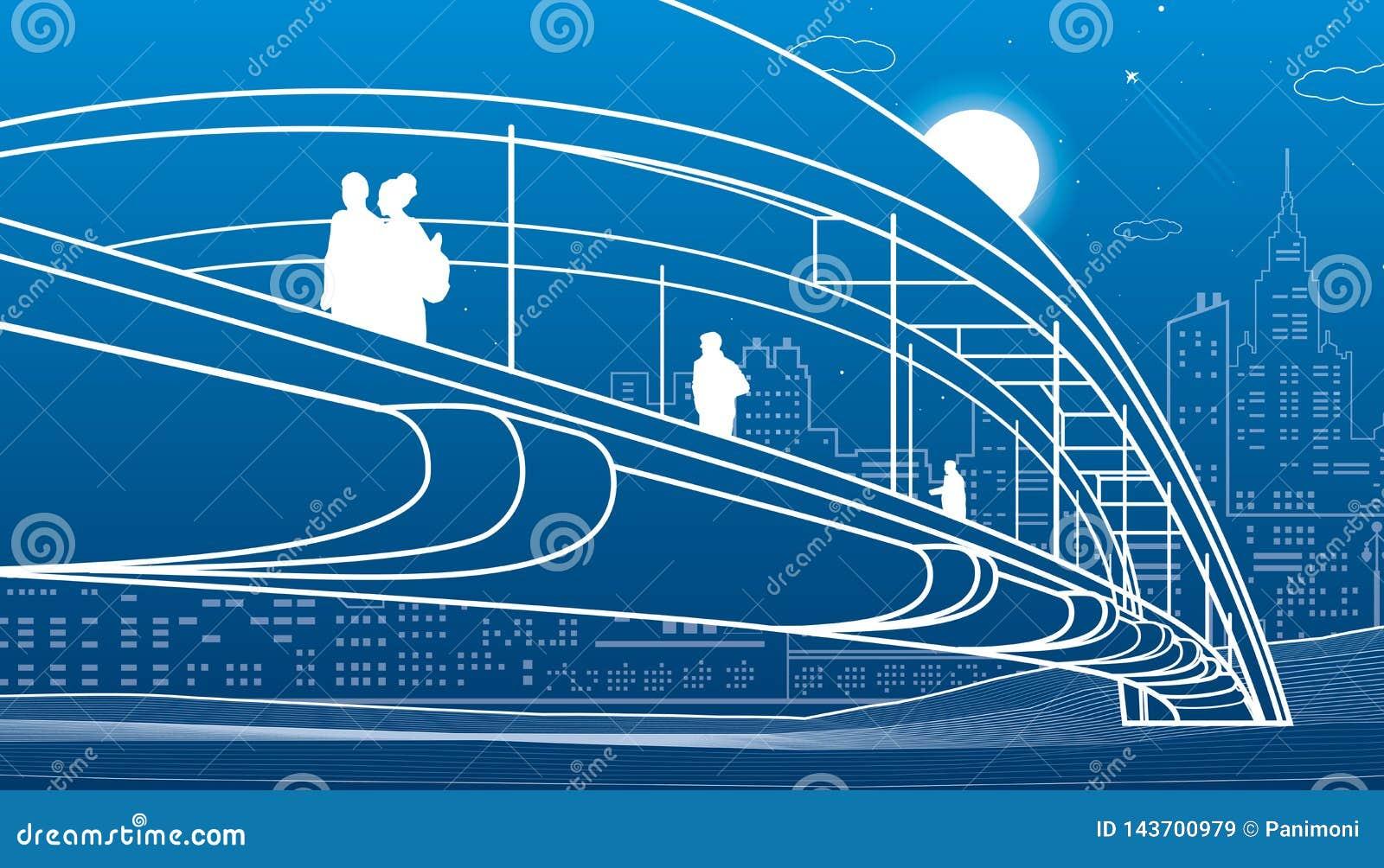 走在步行桥的人们 背景城市设计您地平线的向量 现代夜镇 基础设施例证,都市场面 在蓝色的空白线路