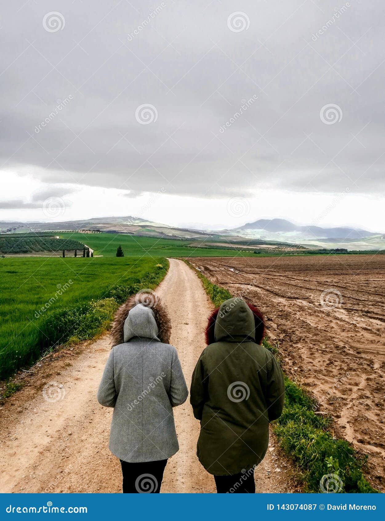 走在美丽的parkland的一条土路的夫妇看法