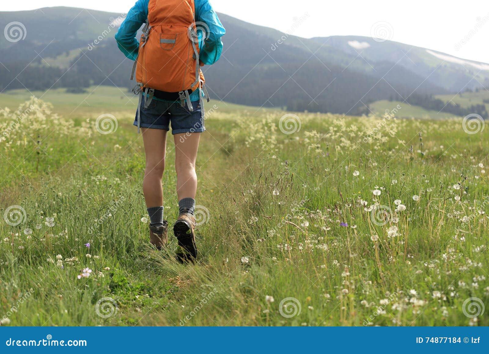 走在足迹在草原